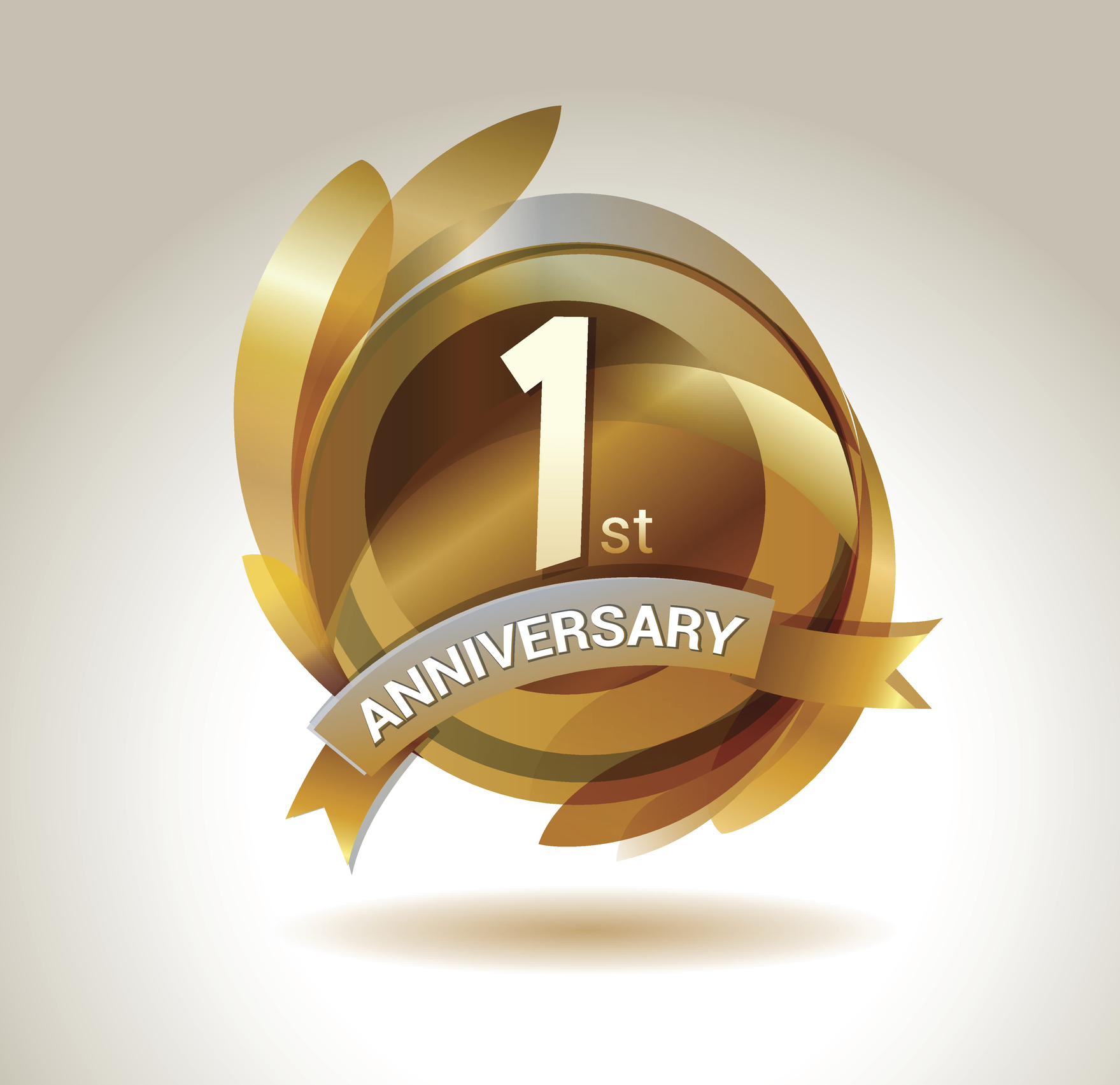 1st anniversary ribbon logo with golden circle and graphic elements aec living 2