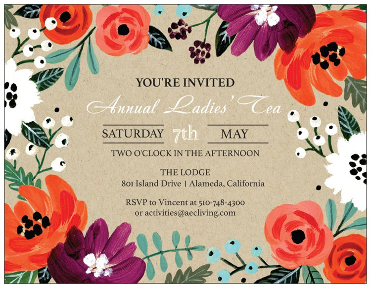 ladies tea invite aec living